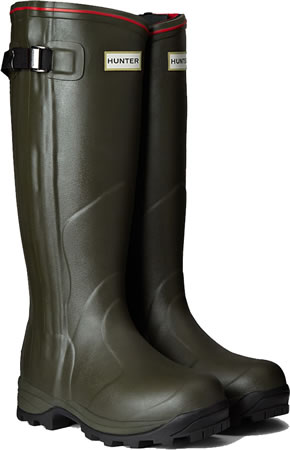 Image of Hunter Balmoral Neoprene Zip Wellington Boots - Dark Olive UK 8