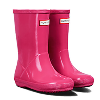 Image of Kids First Gloss Hunter Wellies - Bright Pink - UK 6 / EU 22/23