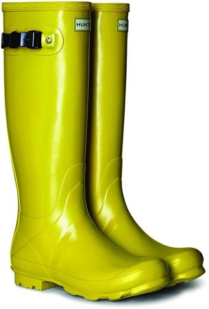 Image of Hunter Norris Field Gloss Wellington Boots - Sulphur UK 6