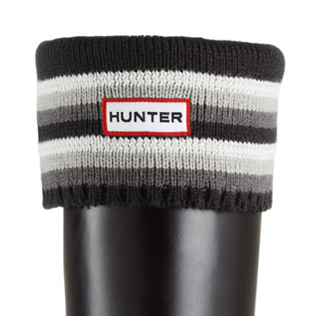 Image of Hunter Striped Cuff Welly Socks - Multi Black and Greys