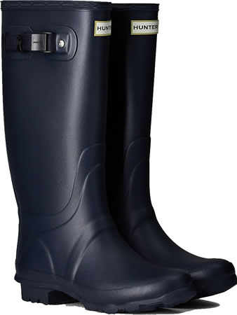 Image of Huntress Field Wide Calf Wellington Boots - Navy UK 6
