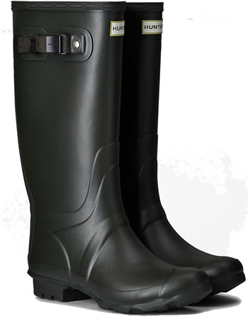 Image of Huntress Field Wide Calf Wellington Boots - Dark Olive UK 7