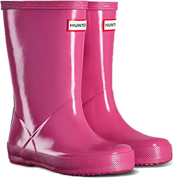 Image of Kids First Gloss Hunter Wellies - Fuchsia UK 9