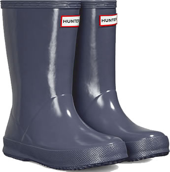 Image of Kids First Gloss Hunter Wellies - Mineral Blue UK 8