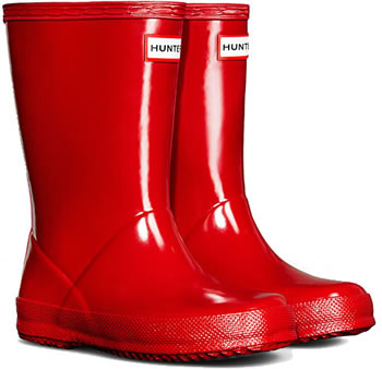 Image of Kids First Gloss Hunter Wellies - Military Red UK 1