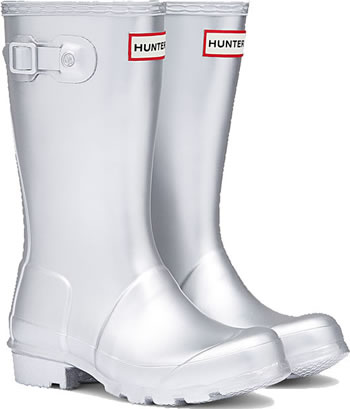 Image of Kids Original Metal Hunter Wellies Silver UK 10