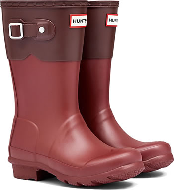 Image of Kids Original Moustache Hunter Wellies Lava Red / Umber UK 11