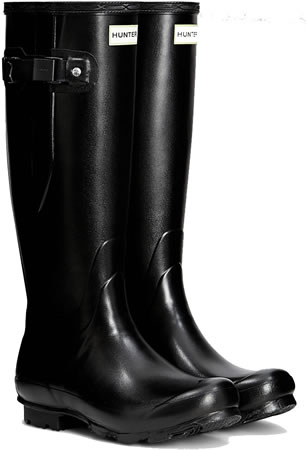 Image of Womens Hunter Norris Field Adjustable Wellington Boots - Black UK 7