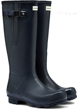 Image of Mens Hunter Norris Field Adjustable Wellington Boots - Navy UK 9