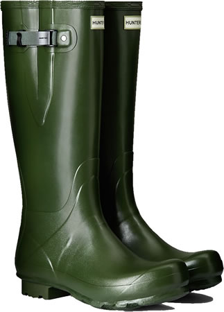 Image of Mens Hunter Norris Field Adjustable Wellington Boots - Vintage Green UK 8