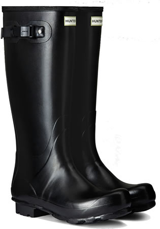 Image of Mens Hunter Norris Field Wellington Boots - Black UK 8