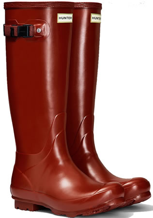 Image of Womens Hunter Norris Field Wellington Boots - Burnt Sienna UK 7