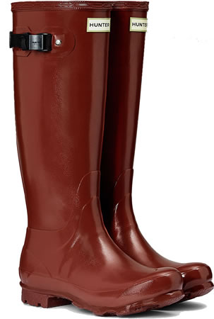 Image of Hunter Norris Field Gloss Wellington Boots - Red Chestnut UK 5