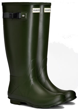 Image of Hunter Norris Field Neoprene Wellington Boots - Vintage Green UK 6