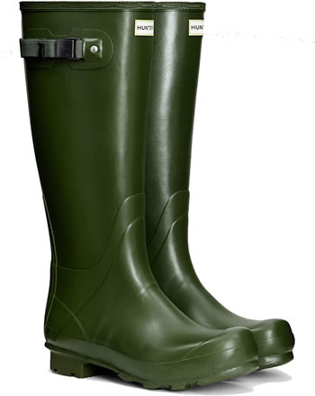 Image of Mens Hunter Norris Field Wellington Boots - Vintage Green UK 10