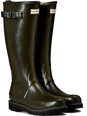 Image of Womens Hunter Balmoral Wellington Boots - Dark Olive UK 6