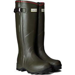 Small Image of Hunter Balmoral Neoprene Zip Wellington Boots - Dark Olive UK 8
