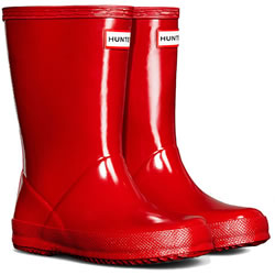 Small Image of Kids First Gloss Hunter Wellies - Military Red UK 1