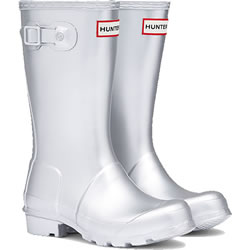 Small Image of Kids Original Metal Hunter Wellies Silver UK 8