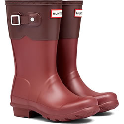 Small Image of Kids Original Moustache Hunter Wellies Lava Red / Umber UK 11