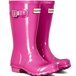 Small Image of Original Gloss Lipstick Pink Kids Hunter Wellies - UK Size 7 / Euro 24