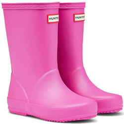Small Image of Kids First Lipstick Pink Hunter Wellies - UK Size 6 / Euro 22/23