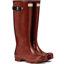 Small Image of Hunter Norris Field Gloss Wellington Boots - Red Chestnut UK 5