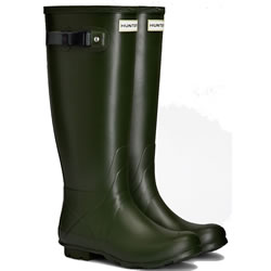 Small Image of Hunter Norris Field Neoprene Wellington Boots - Vintage Green UK 6