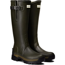 Small Image of Womens Hunter Balmoral Side Adjustable Wellies - Dark Olive UK 7