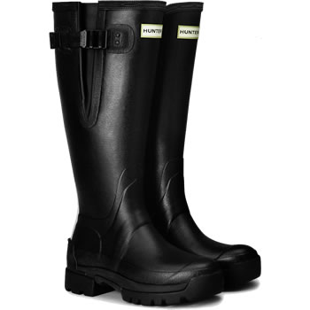 Image of Womens Hunter Balmoral Side Adjustable Wellies - Black UK 7