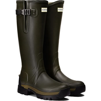 Image of Womens Hunter Balmoral Side Adjustable Wellies - Dark Olive UK 5