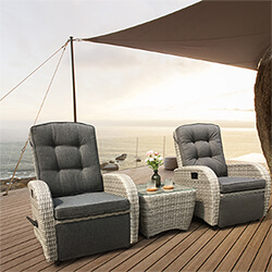 Small Image of Bellevue Rattan Weave Recliner Set in Light Grey /  Charcoal