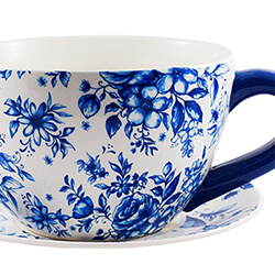 Small Image of Ivyline Large Teacup Planter in Blue Country Floral, 25cm