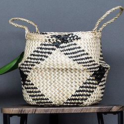 Small Image of Seagrass Diamond Black 35cm Medium Lined Basket Planter