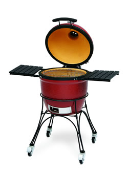 Extra image of Kamado Joe Classic Red with Cart, Shelves, Heat Deflector and Tools