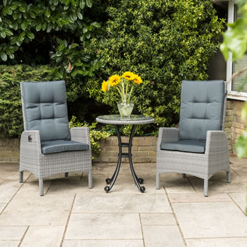 Image of Katie Blake Chatsworth Reclining Bistro Set in Stone Grey/ Dove Grey