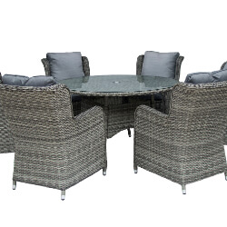Small Image of Seville 6 Seater 1.4m Round Garden Furniture Set by Katie Blake