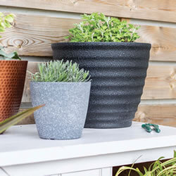 Extra image of Kelkay Plant Avenue Stone Collection Large Hudson Pot in Black