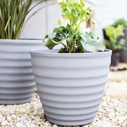 Extra image of Kelkay Plant Avenue Stone Collection Small Hudson Pot in Grey
