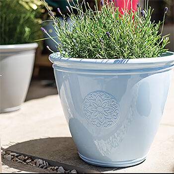 Image of Kelkay Plant Avenue Trad. Collection Small Eden Emblem Pot in Blue