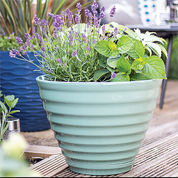 Image of Kelkay Plant Avenue Vale Pot with Built in Saucer in Sage Green