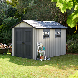 Small Image of Keter Oakland 7511 Garden Shed in Brownish Grey