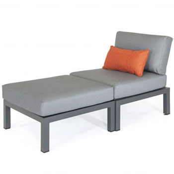 Image of Kettler Elba Side Chair with Footstool in Anthracite / Charcoal