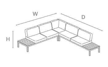 Kettler Elba Low Corner Lounge - dimensions image