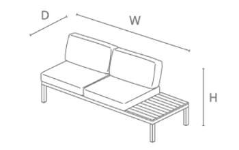 Kettler Elba Right Modular Sofa with Side Table - dimensions image