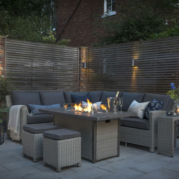 Image of Kettler Palma Corner Sofa Set with Fire Pit Table, White Wash