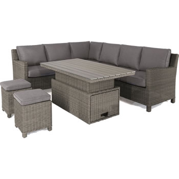 Image of Kettler Palma Right Hand Corner Sofa Set with S-Q Table in Rattan