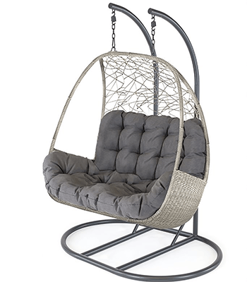 Image of Kettler Palma Double Cocoon Hanging Egg Chair in Whitewash