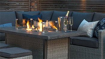 Image of Kettler Palma Fire Pit Table in Rattan