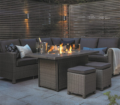 Image of Kettler Palma Left Hand Corner Sofa Set with Fire Pit Table, Rattan
